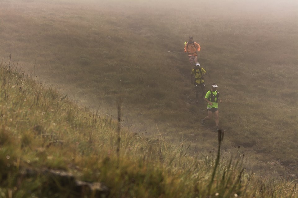 Iain Don Wauchope leads Lucky Miya and Darryn Mortimer through the mist en route to victory in the Drakensberg Northern Trail Skymarathon®. Photo by Terence Vrugtman | www.adventurelife.co.za