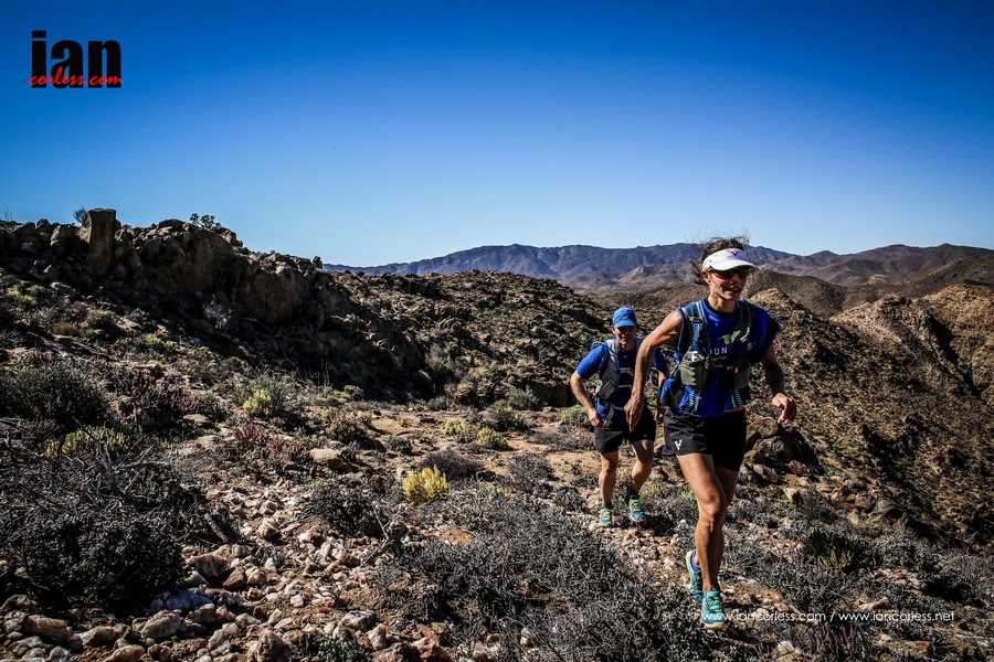 Katya Soggot on her way to first place at the Richtersveld Wildrun™ 2015. Copyright Ian Corless