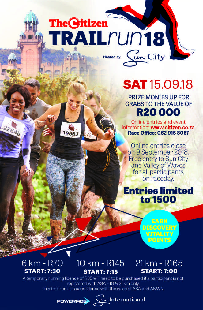 meet 54fdb f9a17 This is a must event on your trail run calendar.There is a 6km fun walk  trail event that is wheel friendly route along the beautiful Lost City golf  course.